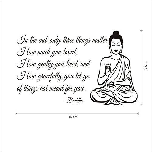 ZRDMN Wall Sticker The Decor Home Decor English Religious and Cultural Pattern,92cm57cm Buddha. Can Remove Art murals forBedroomLiving RoomOfficeFamilyNursery Bathroom Kitchen