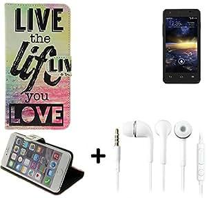 360° Funda Smartphone para Vodafone Smart 4 turbo, 'live the life you love' + auriculares   Wallet case flip cover caja bolsa Caso Monedero BookStyle - K-S-Trade