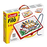 Quercetti Filo Play Set - A Novel Lacing Tool with 18 Pattern Templates to Create Art with String- for Ages 4 and Up (Made in Italy)