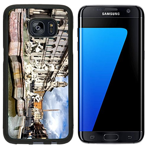 Luxlady Premium Samsung Galaxy S7 Edge Aluminum Backplate Bumper Snap Case IMAGE ID: 26825156 Poseidon fountain Navona square in Rome Italy