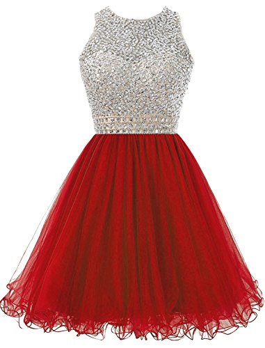 Prom Crystals Tulle Dress For Juniors Beaded Homecoming Dress DYS s Short Red Women z4PRTR