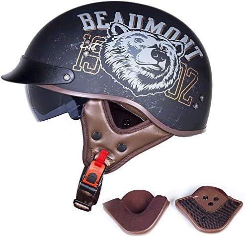 半帽、レトロパイロットジェットヘルメットDOT認定ハーレーオートバイヘルメットクルーザーチョッパーオープンフェイススケートボードヘルメットオープンフェイスヘルメット