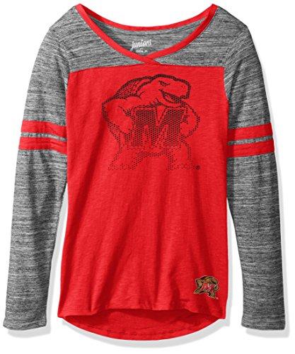 OuterStuff NCAA Maryland Terrapins Junior Girls Secret Fan Long Sleeve Football Tee, Red, X-Small(0-1)
