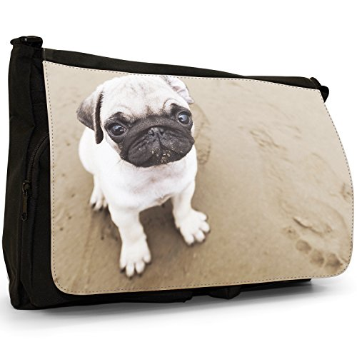 Dogs Black Pugs Little Large Messenger On Shoulder Pug Puppy Laptop Sandy Love School Canvas Bag Beach qAtWwdY