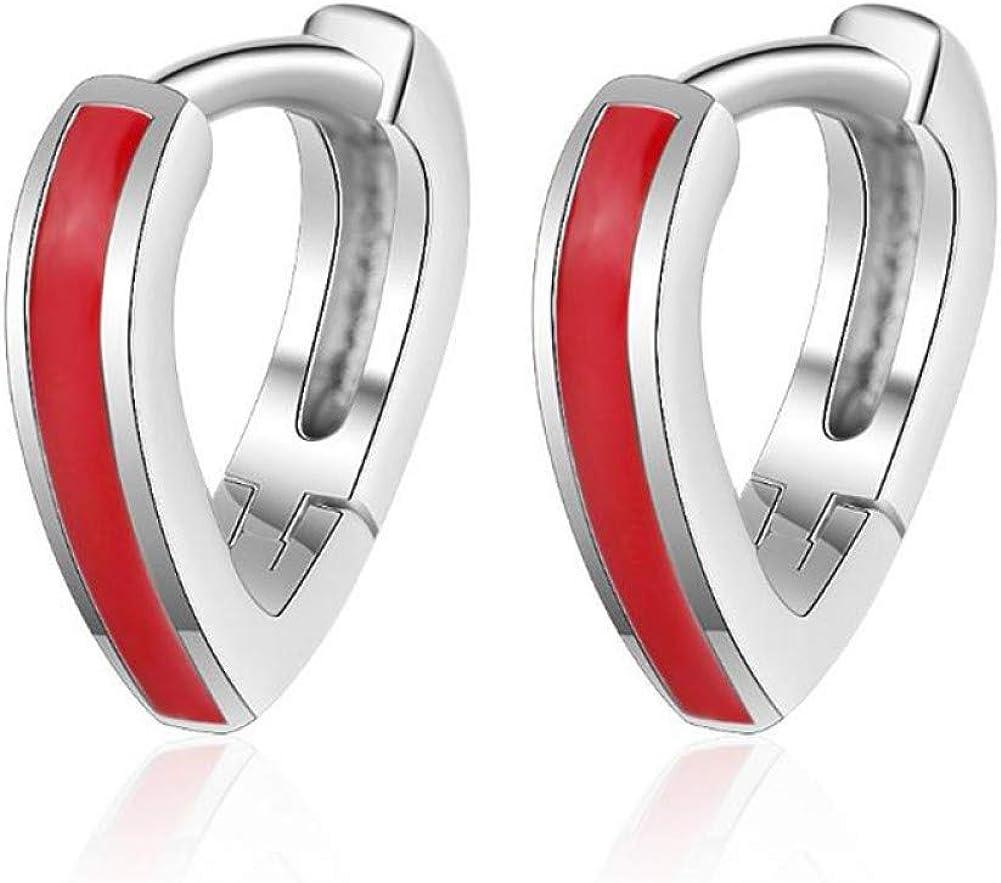 Qpodgq Arete Pendientes De Aro De Corazón De Plata De Ley Roja Con Esmalte Rojo Niñas Niños Piercings De Oreja De Hélice Simple