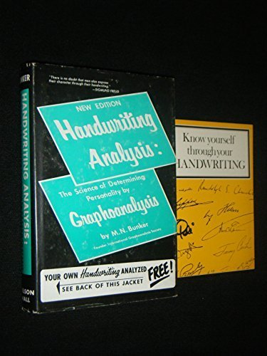 Handwriting Analysis: The Science of Determining Personality by Graphoanalysis by Milton Newman Bunker (1971-06-03) by Burnham Inc Pub