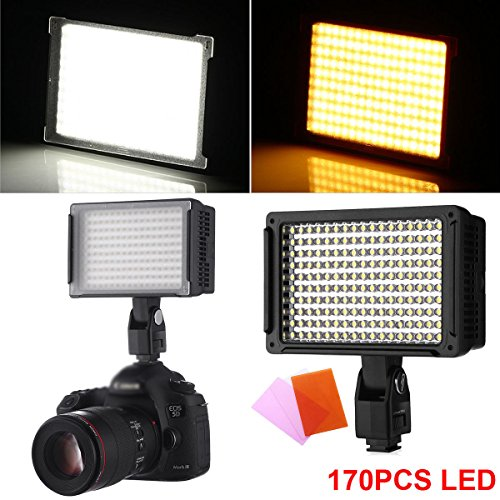 (PiggiesC 170 LED Studio Video Hot Shoe Light For Canon Nikon Pentax Samsung DSLR Camera)