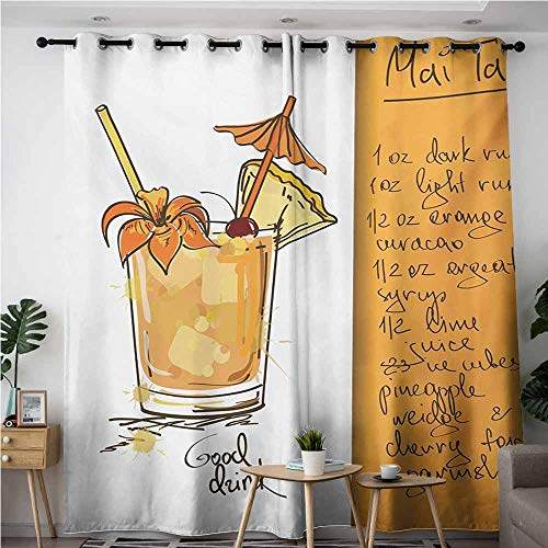 AndyTours Curtains for Living Room,Tiki Bar,Hand Drawn Style Mai Tai Cocktail in a Glass and The Recipe Hawaiian Drink,Blackout Window Curtain 2 Panel,W72x96L,Orange and -