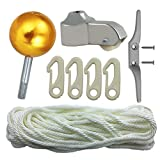 Flagpole Repair Parts Kit - 50 Feet Flag Halyard Rope + 3' Flag Pole Topper Gold Ball + 4' Cleat Hook + 4 PCS Flag Clip Hooks + Flagpole Truck Caps for 2' Top