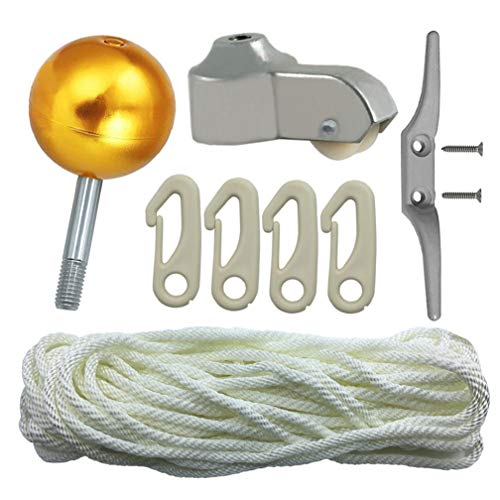 Flagpole Repair Parts Kit - 50 Feet Flag Halyard Rope + 3