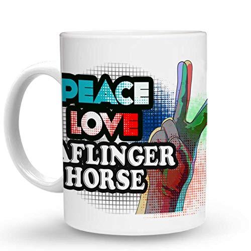 (Makoroni - PEACE LOVE HAFLINGER HORSE - 11 Oz. Unique COFFEE MUG, Coffee Cup)