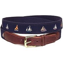 Preston Leather Nautical Sailboats Belt Blue