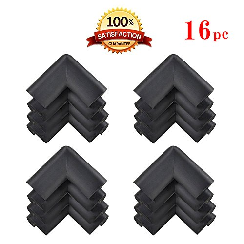 KINGLAKE 16 Pcs Thick Baby Safety Soft Corner Guards Baby Safety Protectors Furniture Corner Bumpers Black