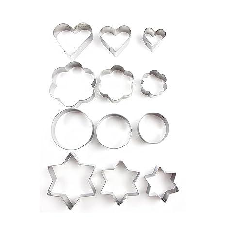 OUNONA 12 Piezas Moldes Para Galletas Moldes Metal Estrella, Flor, Redondo,Corazón