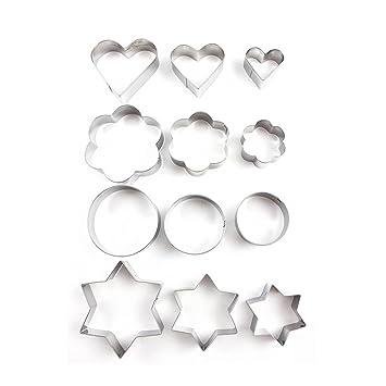 OUNONA 12 Piezas Moldes Para Galletas Moldes Metal Estrella, Flor, Redondo,Corazón: Amazon.es: Hogar