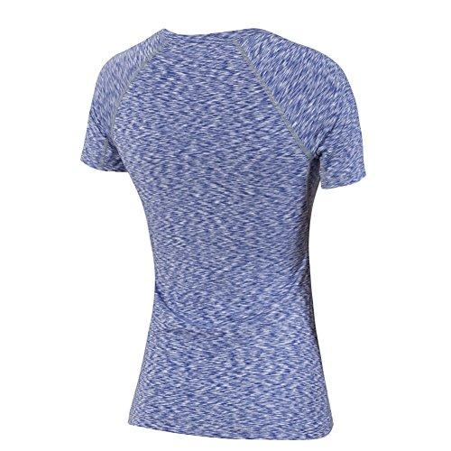 Bmeigo Mujer Atlético Fitness Crew Neck Quick Dry manga corta Camiseta Deportiva Purple