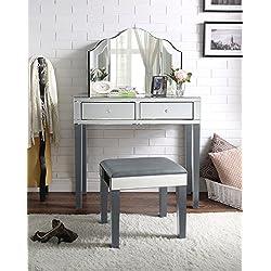 Inspired Home Juliet Modern Contemporary Mirrored 2-Drawer Vanity Set (3-Piece Set, Grey)