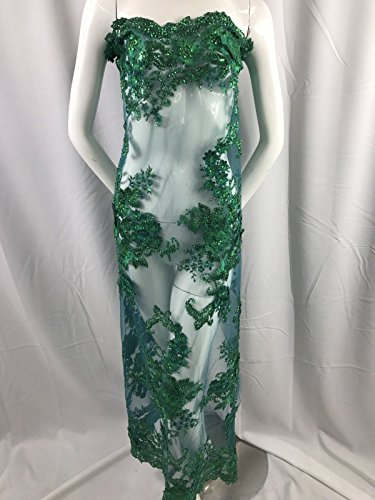 - Lace Fabric By The Yard Emerald Green 3D Flower Beaded With Precious Crystal Sequins For Bridal Veil & Wedding Decorations Dress