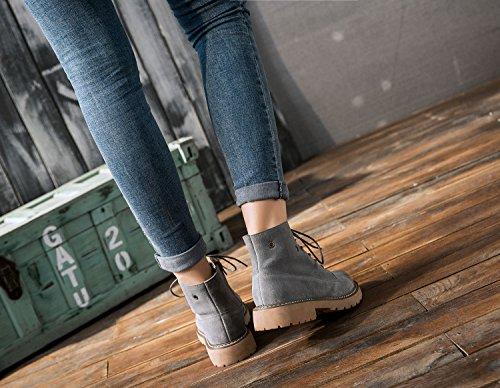 8f2fa1a9bb57 ... uBeauty Damen Leder Stiefel Chelsea Boots Flache Boots Klassischer  Stiefeletten Schnüren Freizeitschuhe Grau