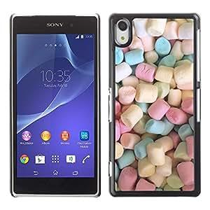 Marshmallow dulces de caramelo Pastel de color - Metal de aluminio y de plástico duro Caja del teléfono - Negro - Sony Xperia Z2