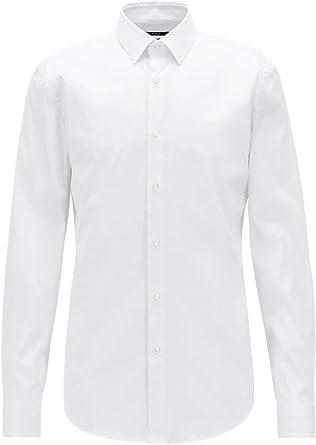 Hugo Boss 50427541 - Camisa de hombre modelo Iko Slim Fit de fácil planchado, color blanco: Amazon.es: Ropa y accesorios