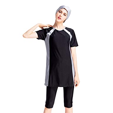 026686993c807 XiongBuy Womens' Modest Muslim Swimsuit Islamic Clothing with Cap Solid  Color Swimsuit Hijab Full Cover