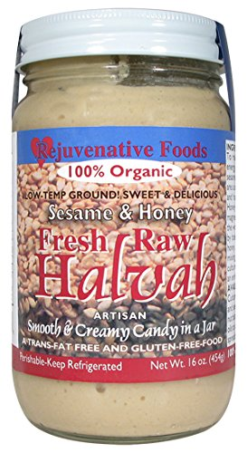 FIVE 16 oz Fresh Raw Organic Traditional Halvah Pure Rejuvenative Foods Candy-In-Glass Spoonable Low-Temp-Ground Artisan Certified Organic Vitamin-Protein-Antioxidant-Mineral (5 - 16 oz.) by Rejuvenative Foods