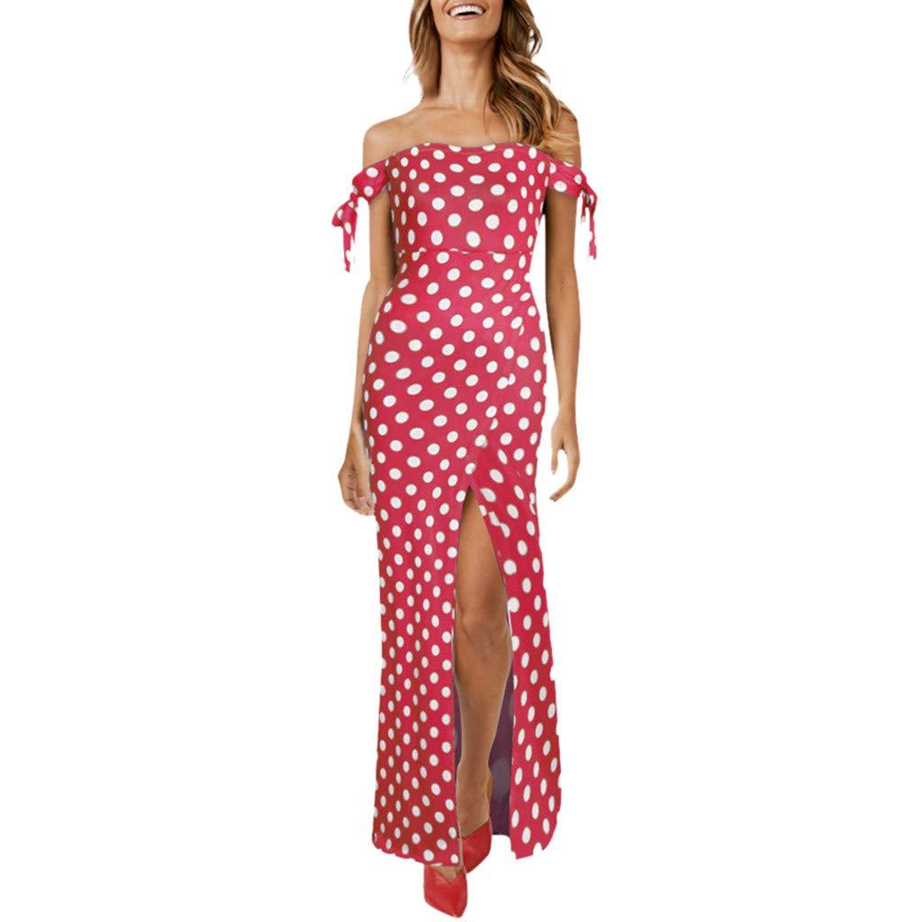 Cliramer Women's Summer Beach Casual Printing T-Shirt Dresses Swing Mini Dress Red by Cliramer