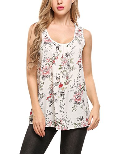 Zeagoo Women's Sleeveless Round Neck Floral Print Shirt Tops Tee Tanks Camis