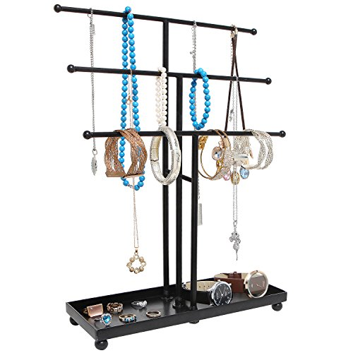 Modern Metal 3 Tier Tabletop Bracelet & Necklace Jewelry Organizer Display Tree Rack w/ Ring Tray