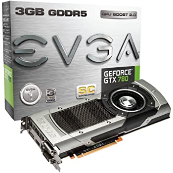 EVGA GeForce GTX780 SuperClocked 3GB GDDR5 384bit, Dual-Link DVI-I, DVI-D, HDMI,DP, SLI Ready Graphics Card (03G-P4-2783-KR)