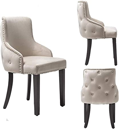 PS Global Grace Esszimmerstühle, einfache Montage, Chrom Studding, getuftete Rückseite, Tiefe Knopfleiste, Plüsch Samt, 2 Stück cremefarben