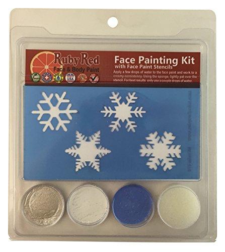 Ruby Red Paint Face Paint, 2ML X 3 Colors - Snowflake Stencil Set