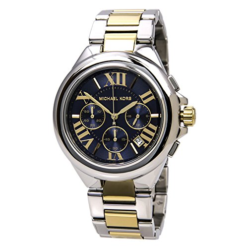 Michael Kors Women's Camille Two Tone Bracelet Blue Dial Watch - Face Kors Blue Gold With Michael