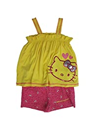 Hello Kitty Little Girls Yellow Fuchsia Sparkle Applique 2 Pc Shorts Set 5