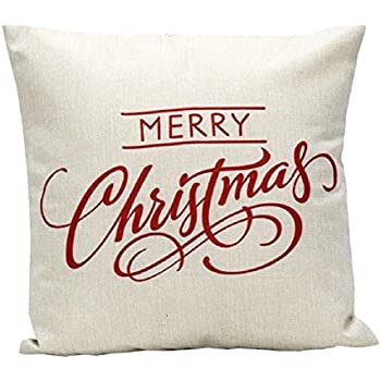 "Wonder4 Sofa Pillow Case, Merry Christmas Decorative Pillow Cover 18 x 18"" cotton linen fabric (I)"