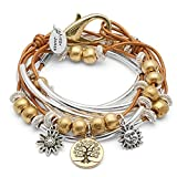 Boho with Gold Tree of Life Charm Trio Silverplate Medium Bracelet Necklace with Metallic Golden Sun Leather Wrap by Lizzy James