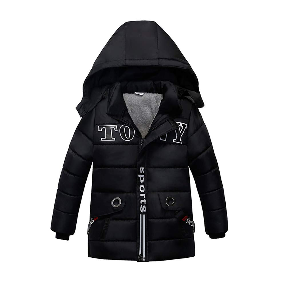 Selou Mode Kinderjacke Baumwollkleidung des Jungen und des Mädchens Winterjacke Brief gedruckt Hoodie Einfarbige kurze Baumwolljacke Zip-Strickjacke Einfacher cooler Mantel Jacke Parker Oben