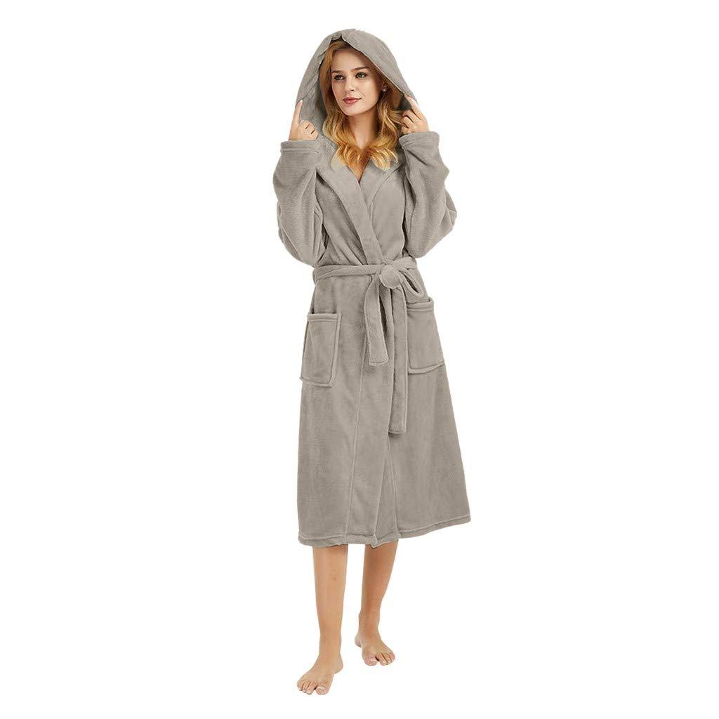 ❤️ Womens Long Sleeve HoodedLengthened Coat Fleece Robes, Soft Warm Plush Bathrobe Robe for Spa Shower (S, Gray)