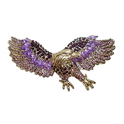 Top TTjewelry Vintage Style Purple Eagle Gold-Tone Brooch Pin Rhinestones Crystal Bird supplier
