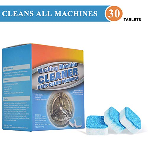 Solid Washing Machine Cleaner, 30 Count Washer Decontamination Cleaning Detergent Effervescent Tablet