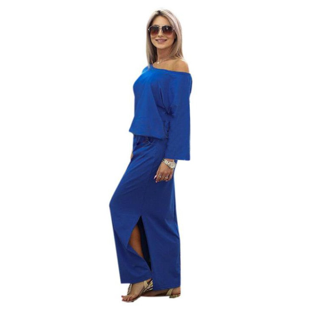 Kaitobe Womens Long Sleeve Maxi Dress Casual Solid O-Neck Cold Shoulder Side Slit Evening Party Boho Dress with Pocket