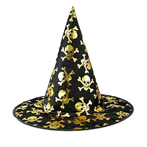 Muranba Adult Womens Black Witch Hat For Halloween Costume Accessory Cap (A) (Guirnalda Happy Halloween)