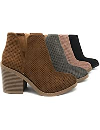 Soda Womens Target Perforated Stacked Block Heel Ankle Bootie