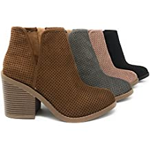 MVE Shoes Soda Womens Target Perforated Stacked Block Heel Ankle Bootie