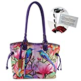 Anuschka Large Drawstring Shopper Handbag - Hand Painted on Real Leather - Wallet and Purse Hanger