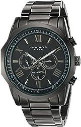 Akribos XXIV Men's Black Multi-Function Dodecagon Bezel with Black Dial on Black Stainless Steel Bracelet Watch AK940BK