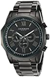 Akribos XXIV Men's Black Multi-Function Dodecagon Bezel with Black Dial on Black Stainless Steel Bracelet Watch AK940BK