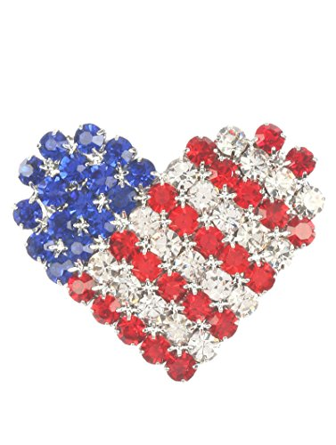 - Fashion Jewelry ~ Patriotic USA Flag Rhinetones Crystal Brooches Pin (Heart)