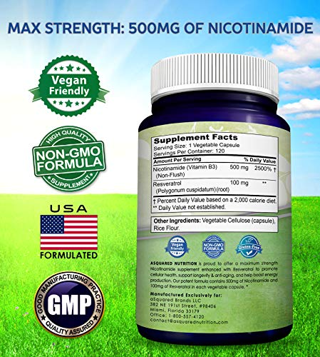 511SD0zX%2BZL - Nicotinamide with Resveratrol - NAD+ Booster (120 Veggie Capsules) - Vitamin B3 500mg (Niacinamide Flush Free) - Supplement Pills to Support NAD, Anti Aging DNA Repair, Skin Cell Health & Energy